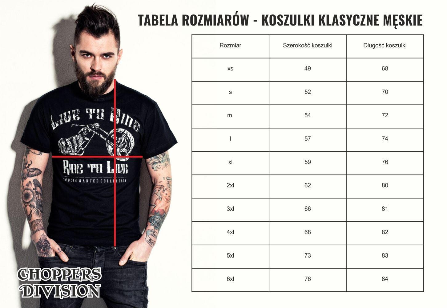 tabela rozmiarów męska