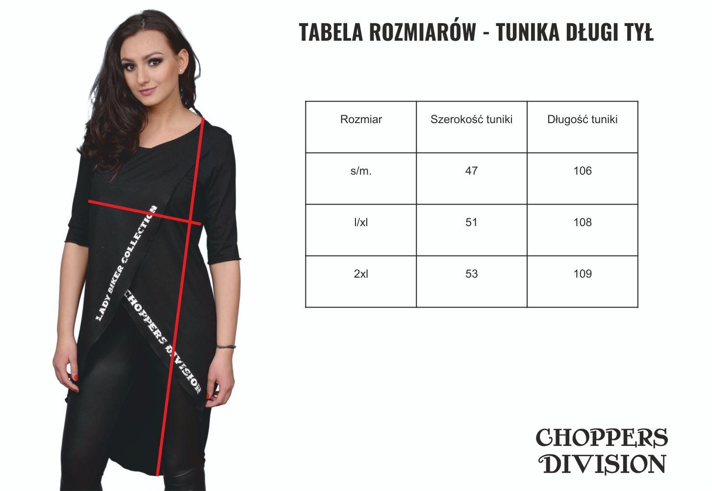 tabela rozmiarów tunika długi tył